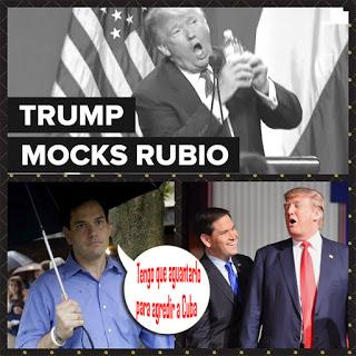 """Marco Rubio cenó con su Presidente, """"olvidando"""" ambos que intercambiaron varios insultos donde, entre otros, Rubio lo tildó de extremadamente vulgar y una persona en quien no se podía confiar. Parece que ahora """"confía"""". Imagen: Blog Conflictos mundiales."""